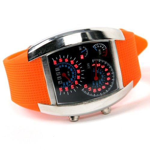 Shot-In Creative Led Watch Sector Sports Car Meter Dial Men Wrist Watch (Orange)