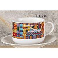 Aztec latte design set of 2 cups & saucers, 20 oz. capacity
