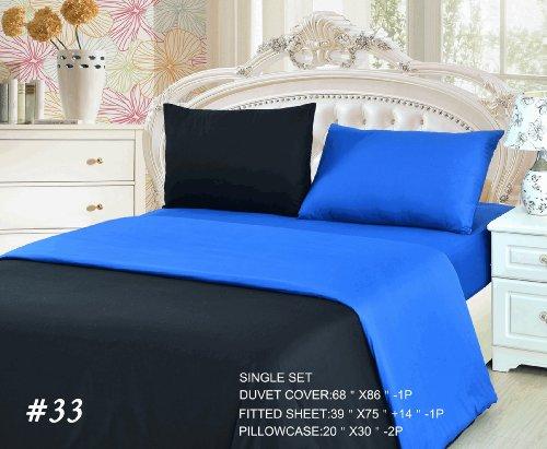 Tache 4 Piece 100% Cotton Deep Blue Reversible Duvet Cover Set, Single front-587592