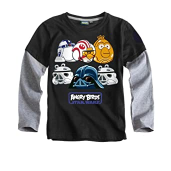 Angry Birds Star Wars Top | Long Sleeved Angry Birds Star Wars Top | Black | Age 10-11