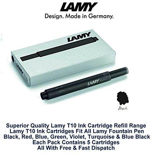Lamy T10 Noir Cartouches d'encre pour stylo-plume de rechange pour toutes les recharges Lamy Stylo Fountian 10-50 Lot de cartouches d'encre)