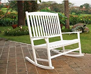 outdoor seats 2 porch double rocker rocking chair white wood patio rocking chairs. Black Bedroom Furniture Sets. Home Design Ideas
