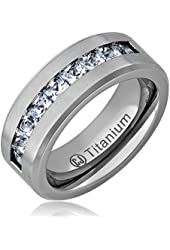 Cavalier Jewelers 8MM Men's Titanium Ring Wedding Band with Flat Brushed Top and Channel Set CZ