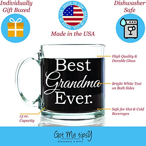 Best Grandma Ever Glass Coffee Mug 13 oz - Great Christmas Gifts for a Grandmother From Grandson or Granddaughter - Unique Birthday Gift For Nana - Perfect Present Idea For a New Grandma