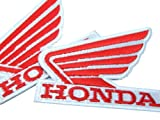 Honda Wing Iron On Patch with Lock-Stitch Optical Effect - 2 off