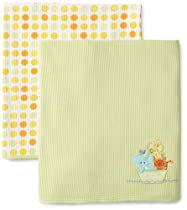 SpaSilk Unisex-baby Newborn 2 Pack Thermal Receiving Ark Blanket, Yellow, One Size