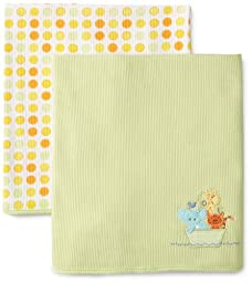 SpaSilk Kid's 2-Pack Thermal Receiving Blanket Set, Green Ark