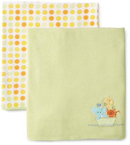 SpaSilk Unisex-baby Newborn 2 Pack Thermal Receiving Ark Blanket - 1