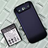 Bastex 4800mAh Extended Battery for Galaxy SIII GT-I9300, Samsung Galaxy S3 T999(T-mobile)/ I747(AT&T)/ I535(Verizon)/R530(U.S. Cellular)/L710(Sprint)+ Dark Blue Cover (no NFC)
