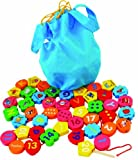 Toys of Wood Oxford Jumbo Wooden Threading Beads Alphabet Blocks and Number Blocks 46 pieces in a bag