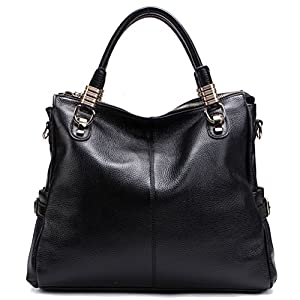 PASTE Women's Genuine Leather Hobo Tote purse satchel Handbag/Shoulder Strap Black