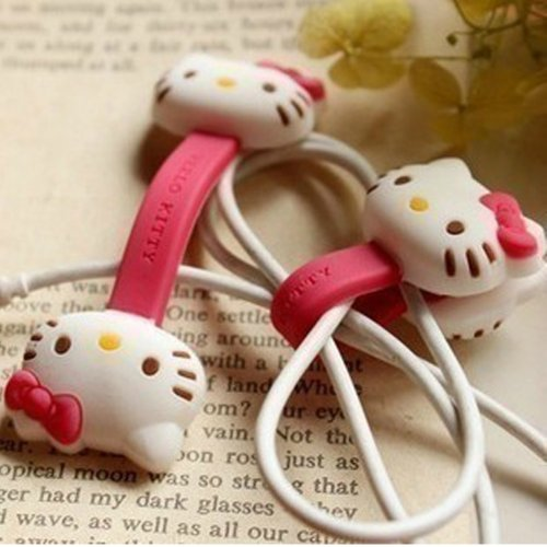Jk New Cute Disney Cartoon Style Cable Tie Cord Organizer Earphone Wrap Winder/ Fixer Holder/Cord Manager/Cable Winder (Hello Kitty)