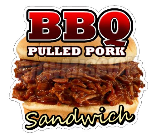 BBQ PULLED PORK SANDWICH Concession Decal restaurant (Bbq Rib Sandwich compare prices)