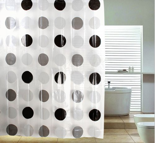 Dgi Mart Fans Casual Curtains Black Coffee Grey Polka Dots Peva Waterproof Shower Curtains Nice Choice For Bathroom Decoration front-586546
