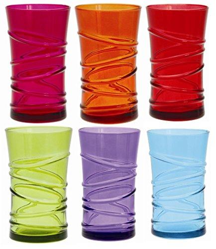 Quid 7069159 Lot de 6 Gobelets Forme Haute Ring Pleine Couleur Verre Multicolore 34 cl