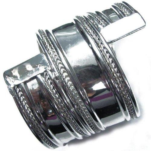 Iba Ethnic Silver Tone Metal Stylish Cuff Bracelet