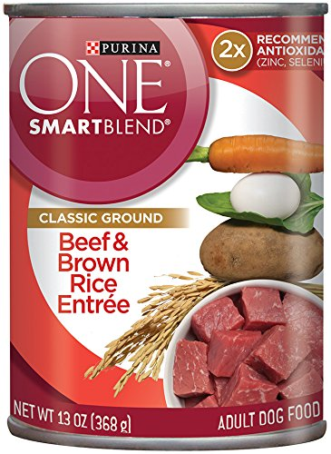 Purina One Smartblend Wet Dog Food, Classic, Beef & Brown Rice Entrée, 13-Ounce Can, Pack Of 12