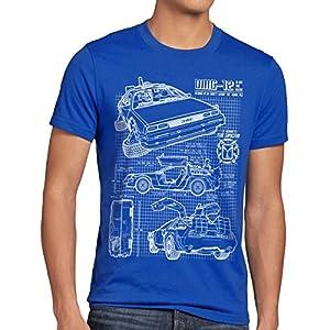 style3 DMC-12 Blueprint Mens T-Shirt to the future back delorean schematics