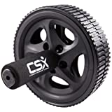 CSX Dual Ab Roller Wheel with Thick Knee Pad Mat and Foam Handles, Black