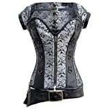 Lucea Womens Faux Leather and Brocade Corset