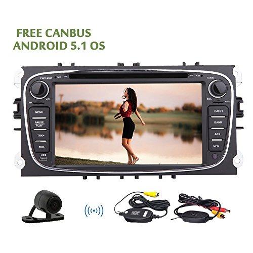 Android 5.1 Stereo Lollipop autoradio per il GPS Ford Focus Mondeo Galaxy S-max supporto CD lettore DVD di navigazione con la macchina fotografica Sistema Multimedia Radio Bluetooth Wifi + Wireless Rear