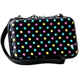 Technoskin - New 3DS XL, 3DS XL - Travel Carrying Case - Polka Dot - 8 Game Holders - Hard Cover - Mesh Accessory Pouch - Carrying Strap - Lifetime Guarantee