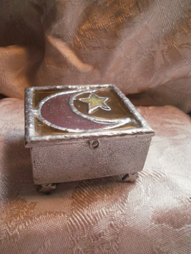 Small Stained Glass Celestial Pewter Box