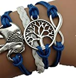 ABC® Women Handmade Charms Tree Elephant Knit Leather Rope Chain Bracelet Gift