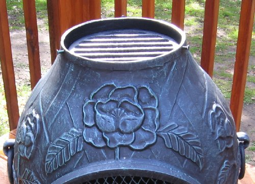 The-Blue-Rooster-Rose-Style-Chiminea-with-Gas-in-Antique-Green