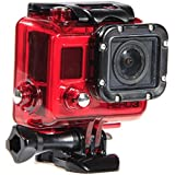 Red 45m Submersible Waterproof Housing Protector Case For Gopro Hero3
