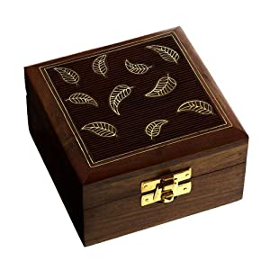 Wooden Jewelry Box for Women Leaf Decor Inlay 4x4x2.25 Inches