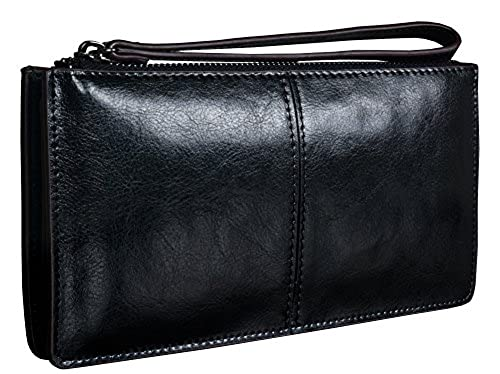 11. Heshe Imported Luxury Euro Simple Style Fashion Collection Designer Zippered Wrist Strap Handy Clutch Long Wallet Purse For Women Card Case Holder Money Clip Organizer