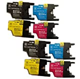 LC1240 / LC1220 - 2 set of 4 Multipack Compatible Ink Cartridges for Brother DCP J525W - ALSO COMPATIBLE WITH Brother DCP J725DW, DCP J925DW, Brother MFC J430W, MFC J5910DW, MFC J625DW, MFC J6510DW, MFC J6710, MFC J6710DW, MFC J6910DW, MFC J825DW Printer