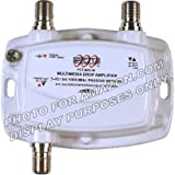 PCT 1-PORT BI-DIRECTIONAL CABLE TV HDTV AMPLIFIER SIGNAL BOOSTER WITH PASSIVE RETURN PATH (Color: White, Tamaño: 1 Port)