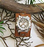 "THE KEY WEST 2"" WIDE AGED TOP GRAIN BROWN LEATHER RIVET WATCHBAND WRISTBAND"