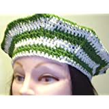 B305x, Hand Crocheted White and Kelly Green Stripe Gimp Beret for Men Women and Teens