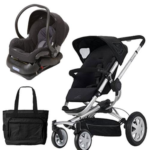 Quinny BUZ4TRVSTM1 Buzz 4 Travel System in Black with a Diaper Bag