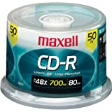 Maxell 648250 48x Write-Once CD-R Spindle For Data / Music / Photos - 50 Disc Spindle