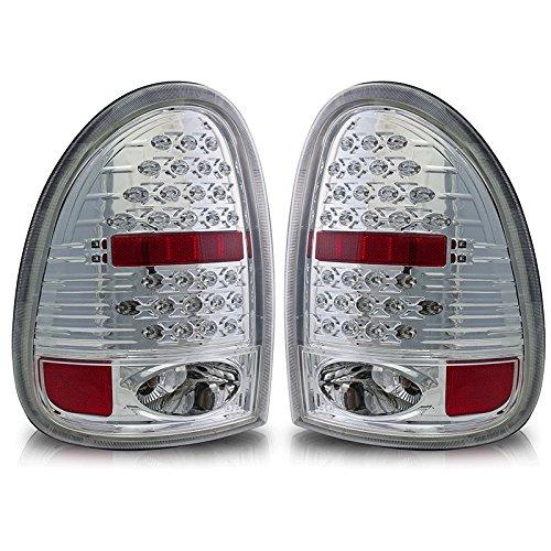 Premium 2Pc Tail Lights Fit 96-00 Dodge Caravan;98-03 Dodge Durango Led Tail Lights - Chrome Reflector / Clear Lens - Light Bulb Type Led. (1 Pair Includes Both Driver & Passenger Sides.)