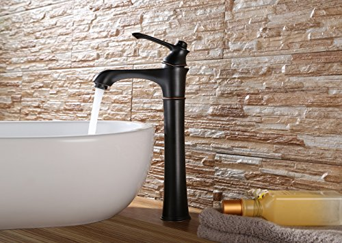 Purelux Wise Classic Deck Mount Bathroom Vessel Sink Faucet Single Lever Control Tall Spout Mixer Tap, Oil Rubbed Bronze Finish 10 YEAR WARRANTY