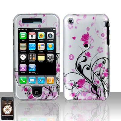 "Apple Iphone 3g/3gs Rubberized Pink Butterfly Flowers Snap-On Premium Hard Cover Case + Bonus 5.5"" Baby Blue Screen Cleaning Cloth"