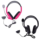HDE 2 Pack Gaming Chat Headphones Headsets With Microphone Mic For Xbox 360 Live (Pink & Black)