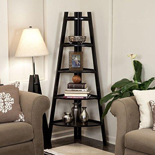 Five Tier Espresso Corner Ladder Display Bookshelf Storage Shelf (Expresso Wood Bookshelves compare prices)