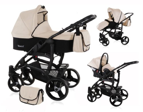 PRAM + Pushchair & FREE Car Seat -Travel System 3in1 Baby Stroller - VENICCI - Swivel Wheels