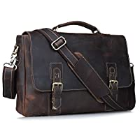 Amango Vintage Genuine Leather Messenger Bag for Men Fit up to 15'' Laptop Brown A8069