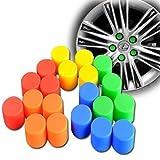 ナットカバー シリコン製 ナット ホイール キャップ 20個セット 17HEX 19HEX用 (19HEX, グリーン)