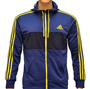 Adidas Mens Climalite Flex Hooded Sweatshirt Jacket-Navy Slime Green-2XL by adidas