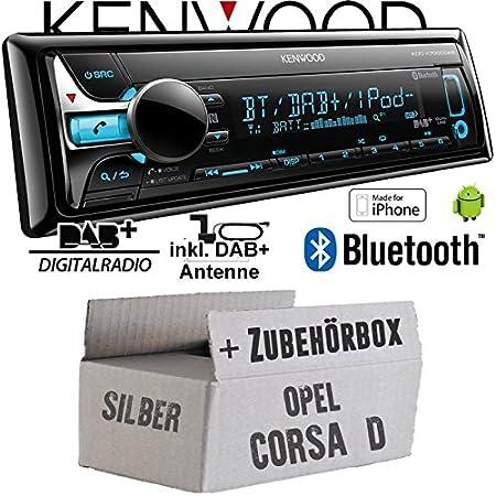 Opel Corsa D silber - Kenwood KDC-X7000DAB - Bluetooth | CD | MP3 | USB | DAB+ Digitalradio Autoradio inkl. DAB Antenne - Einbauset