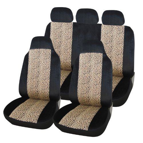Adeco [12Ad151] Black 7-Piece Car Vehicle Seat Covers - Leopard Pattern Design, Universal Fit, Car Interior Decoration front-158883