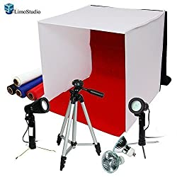 LimoStudio Photography Photo Studio Lighting Kit Set Photo Studio Light Box, 2 x High Output Lights, 4 x Chromakey Backgrounds, 1 x 41-Inch Camera Tripod, AGG778
